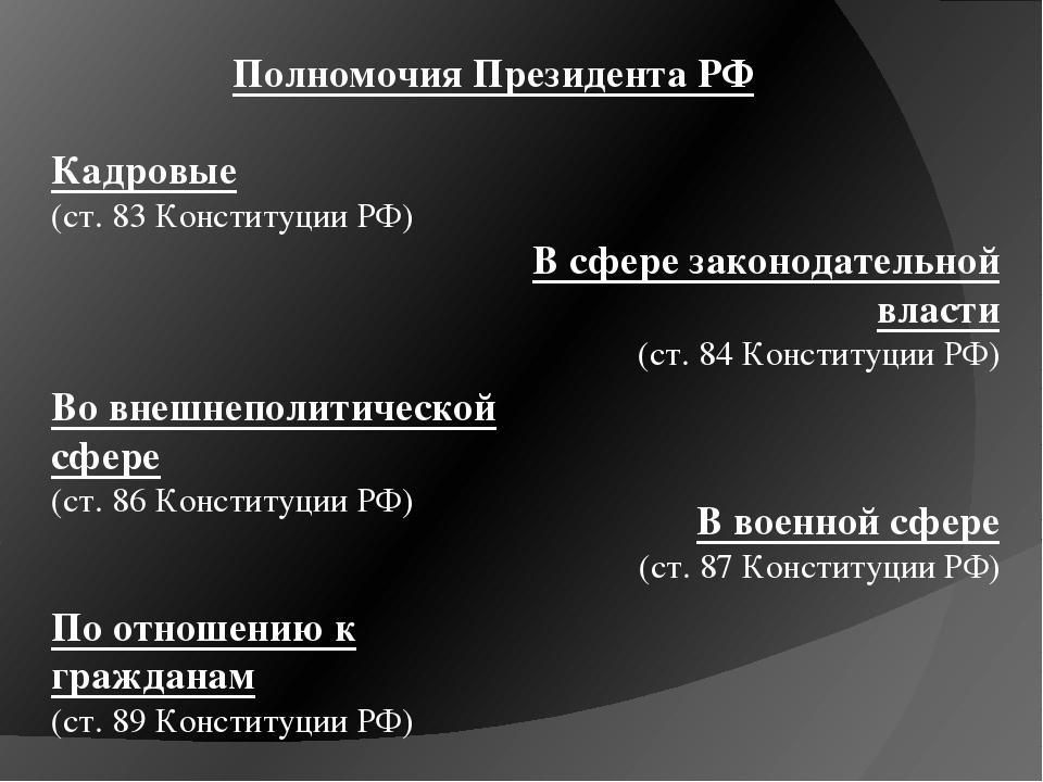 Полномочия Президента РФ Кадровые (ст. 83 Конституции РФ) В сфере законодател...