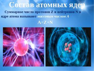 Состав атомных ядер Суммарное число протонов Z и нейтронов N в ядре атома наз