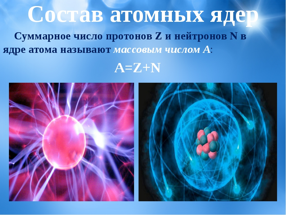 Состав атомных ядер Суммарное число протонов Z и нейтронов N в ядре атома наз...