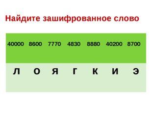 Найдите зашифрованное слово 40000 8600 7770 4830 8880 40200  8700 ло