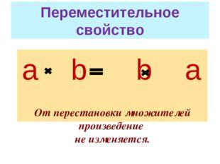 Переместительное свойство а b b а От перестановки множителей произведение не
