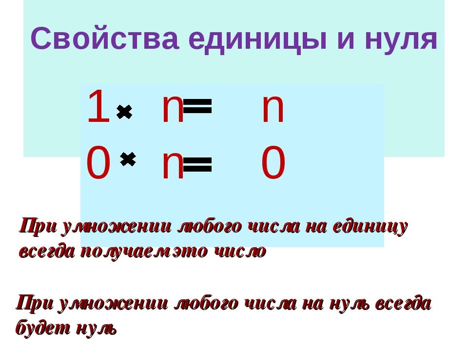 Свойства единицы и нуля 1 n n 0 n 0 При умножении любого числа на нуль всегд...