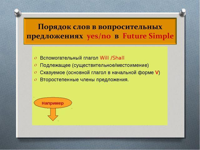 Вспомогательный глагол Will /Shall Подлежащее (существительное/местоимение)...