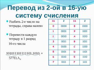 Перевод из 2-ой в 16-ую систему счисления Разбить 2-е число на тетрады, справ