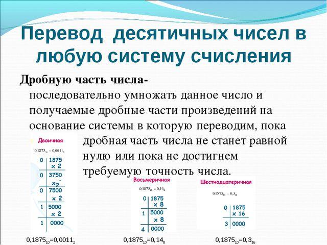 Дробную часть числа- последовательно умножать данное число и получаемые дробн...