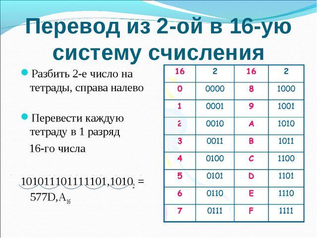Перевод из 2-ой в 16-ую систему счисления Разбить 2-е число на тетрады, справ...