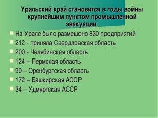 Уральский край становится в годы войны крупнейшим пунктом промышленной эваку
