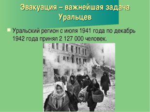 Эвакуация – важнейшая задача Уральцев Уральский регион с июля 1941 года по де
