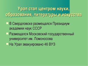 Урал стал центром науки, образования, литературы и искусства В Свердловске ра