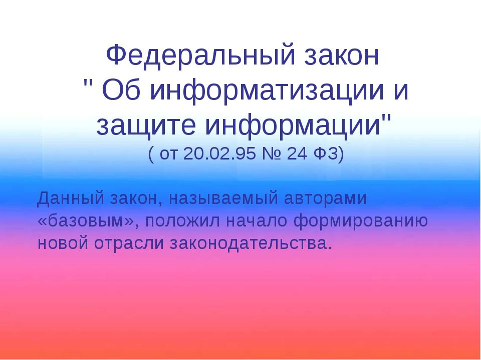 """Федеральный закон """" Об информатизации и защите информации"""" ( от 20.02.95 № 24..."""
