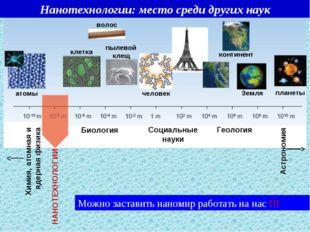 Нанотехнологии: место среди других наук Можно заставить наномир работать на н