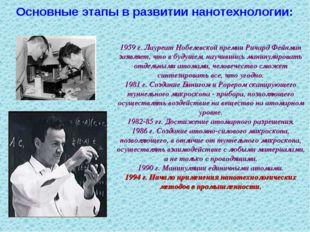 1959 г. Лауреат Нобелевской премии Ричард Фейнман заявляет, что в будущем, на