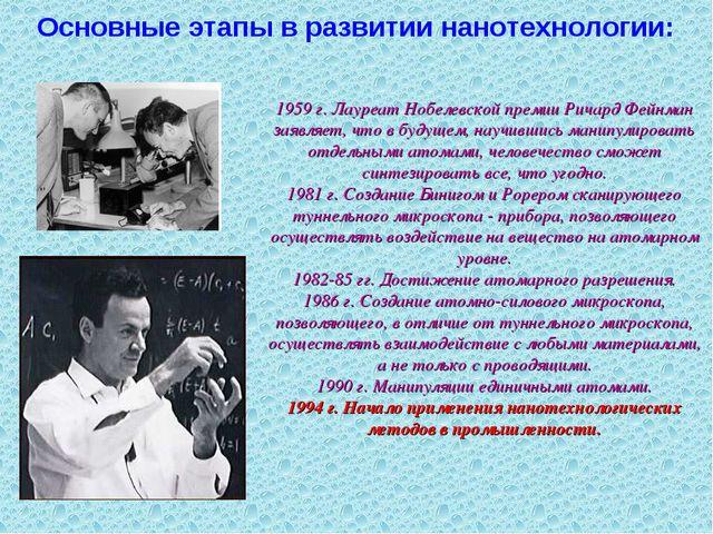 1959 г. Лауреат Нобелевской премии Ричард Фейнман заявляет, что в будущем, на...