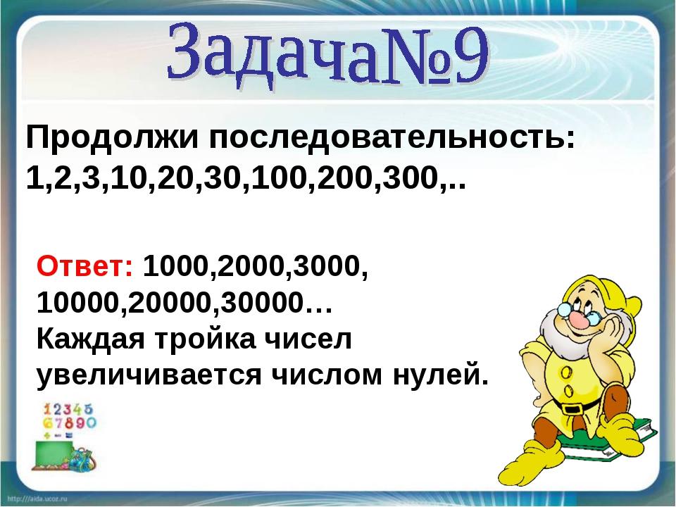 Продолжи последовательность: 1,2,3,10,20,30,100,200,300,.. Ответ: 1000,2000,3...