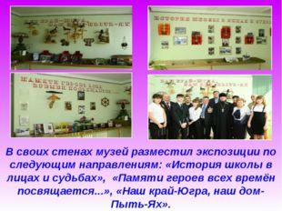 В своих стенах музей разместил экспозиции по следующим направлениям: «История