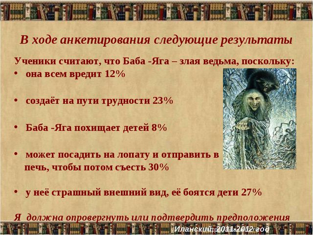 В ходе анкетирования следующие результаты Ученики считают, что Баба -Яга – з...