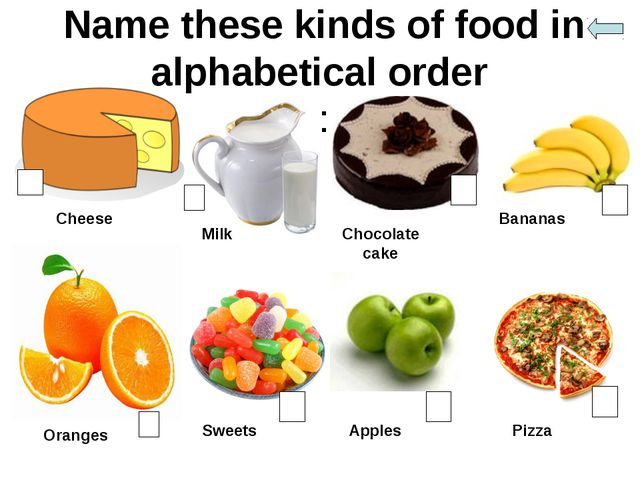 Name these kinds of food in alphabetical order : Cheese Milk Chocolate cake B...