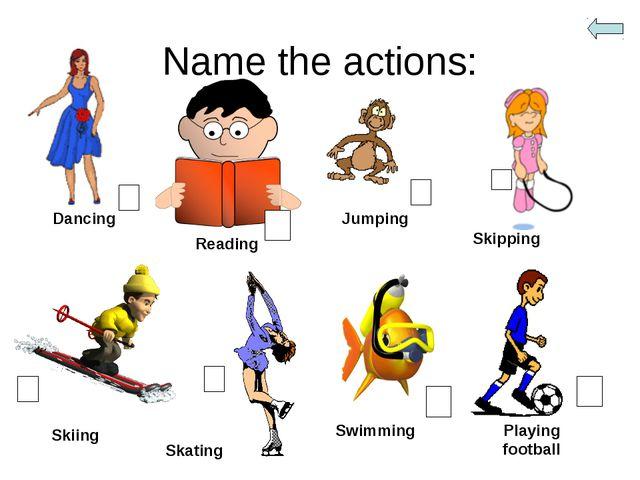 Name the actions: Dancing Reading Jumping Skipping Skiing Skating Swimming Pl...