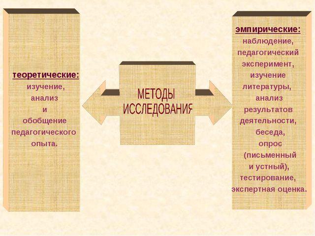 теоретические: изучение, анализ и обобщение педагогического опыта. эмпиричес...