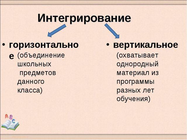 Интегрирование горизонтальное вертикальное (объединение школьных предметов да...