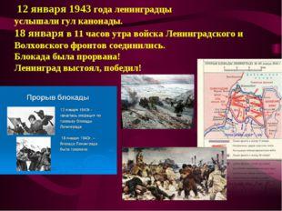 12 января 1943 года ленинградцы услышали гул канонады. 18 января в 11 часов