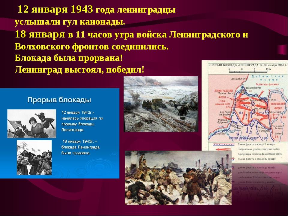 12 января 1943 года ленинградцы услышали гул канонады. 18 января в 11 часов...