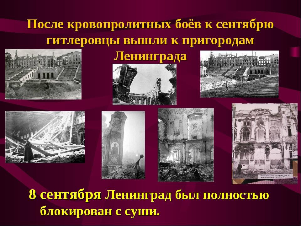 После кровопролитных боёв к сентябрю гитлеровцы вышли к пригородам Ленинграда...