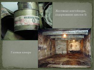 Жестяные контейнеры, содержавшие циклон Б Газовая камера