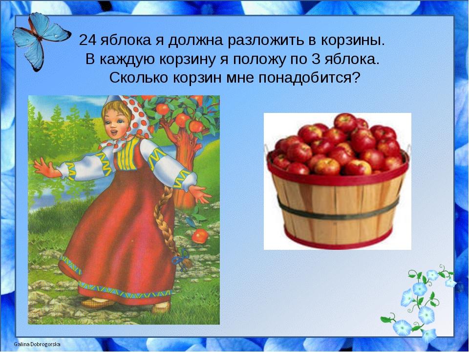 24 яблока я должна разложить в корзины. В каждую корзину я положу по 3 яблока...