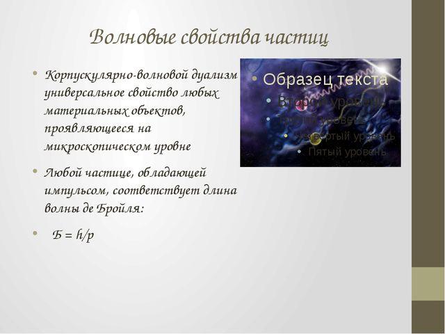 Волновые свойства частиц Корпускулярно-волновой дуализм – универсальное свойс...