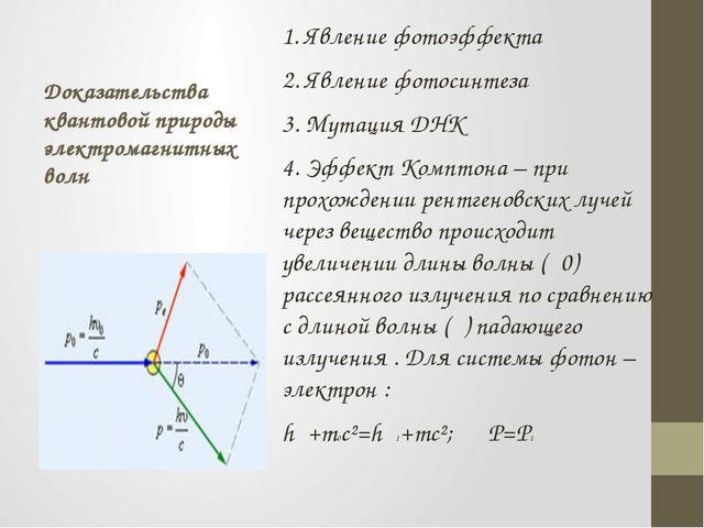 Доказательства квантовой природы электромагнитных волн 1. Явление фотоэффекта...