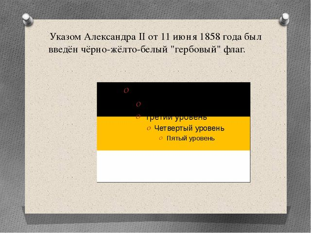 """Указом Александра II от 11 июня 1858 года был введён чёрно-жёлто-белый """"гербо..."""