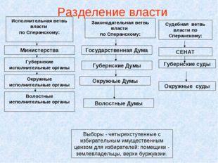 Разделение власти Исполнительная ветвь власти по Сперанскому: Волостные испол