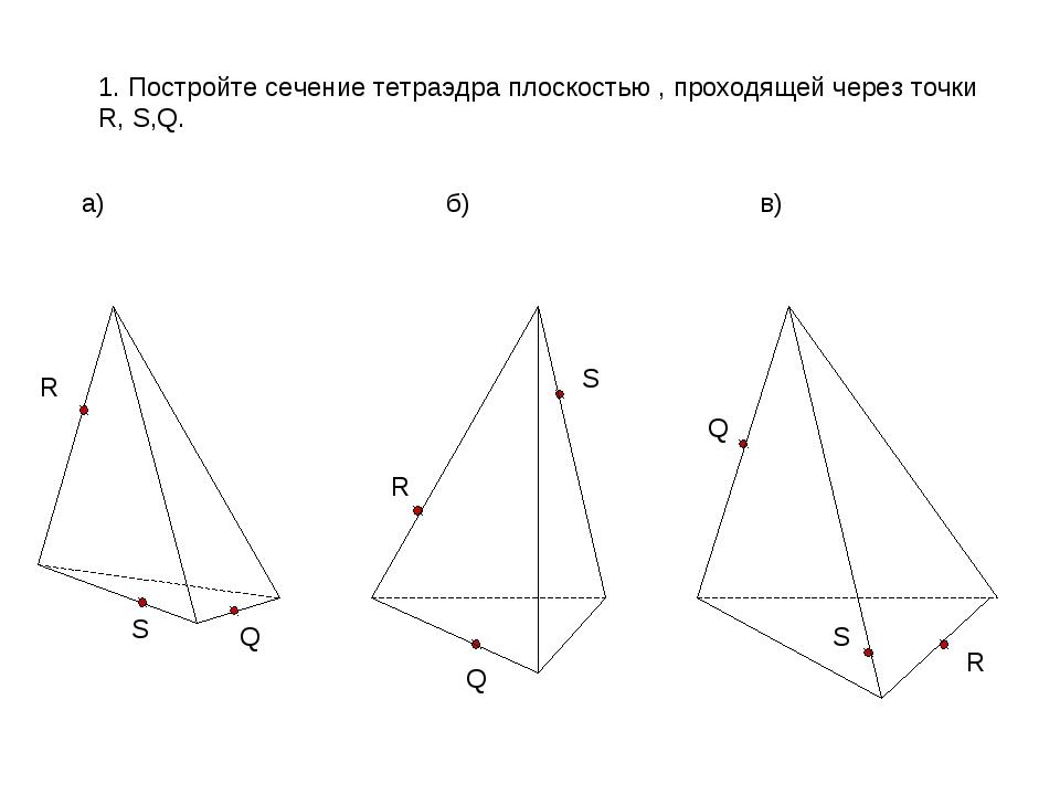 1. Постройте сечение тетраэдра плоскостью , проходящей через точки R, S,Q. а)...