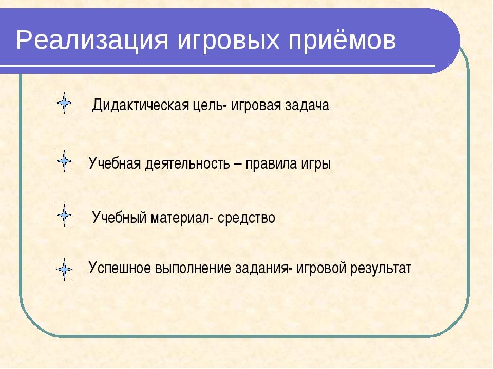 Реализация игровых приёмов Дидактическая цель- игровая задача Учебная деятел...