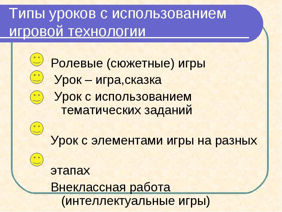 Типы уроков с использованием игровой технологии Ролевые (сюжетные) игры Урок...