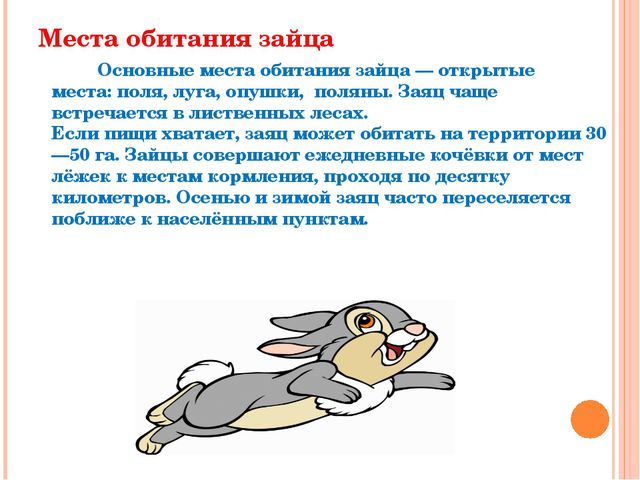 Места обитания зайца Основныеместа обитания зайца— открытые места:поля, лу...