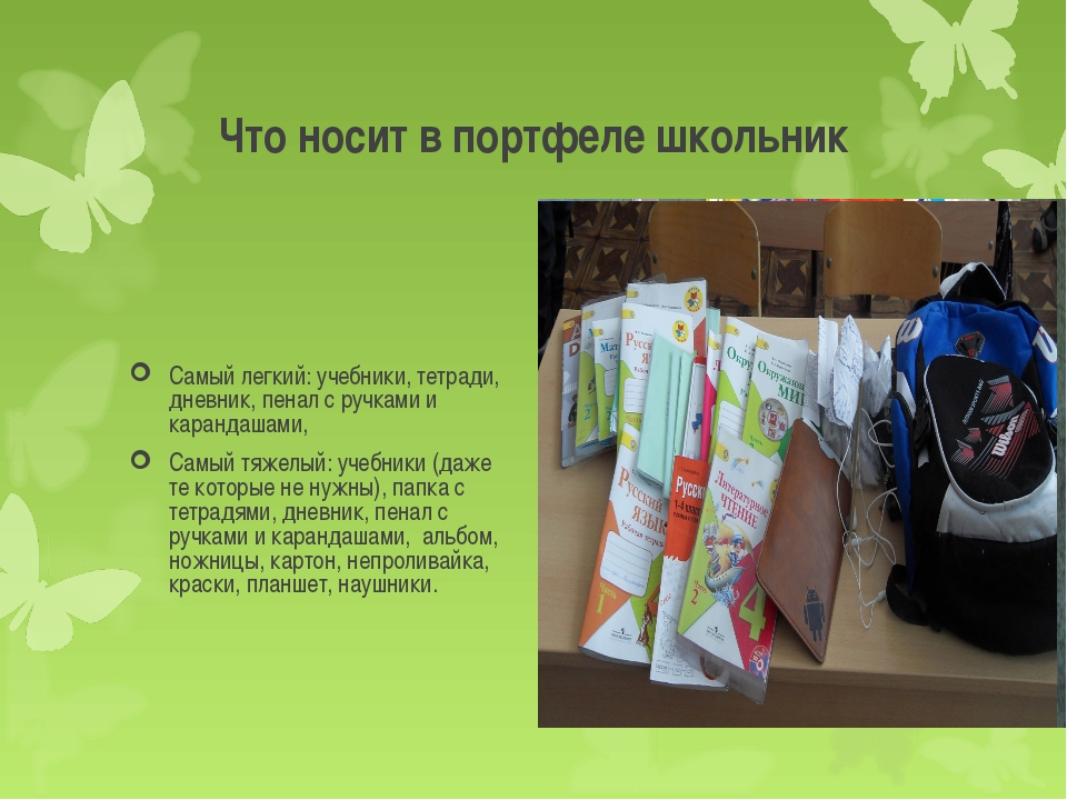 Что носит в портфеле школьник Самый легкий: учебники, тетради, дневник, пенал...