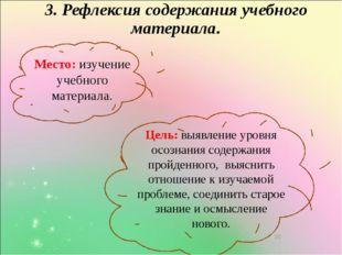 3. Рефлексия содержания учебного материала. Место: изучение учебного материа