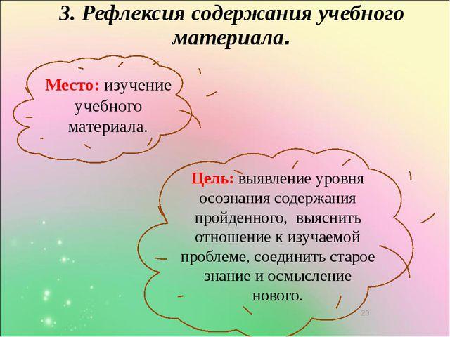 3. Рефлексия содержания учебного материала. Место: изучение учебного материа...