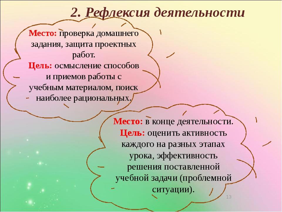 2. Рефлексия деятельности Место: проверка домашнего задания, защита проектны...
