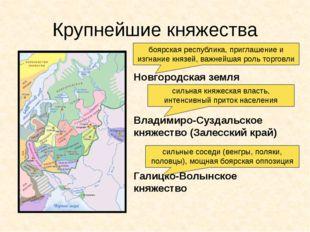 Крупнейшие княжества Новгородская земля Владимиро-Суздальское княжество (Зале