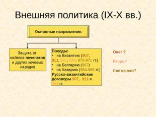 Внешняя политика (IX-X вв.) Основные направления Защита от набегов печенегов