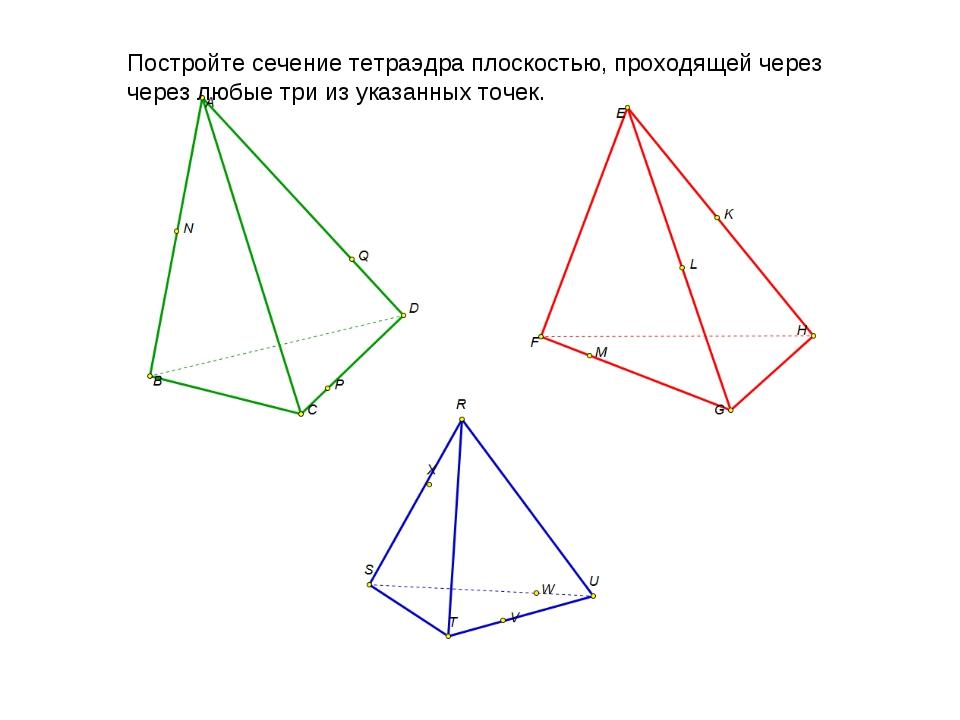 Постройте сечение тетраэдра плоскостью, проходящей через через любые три из у...