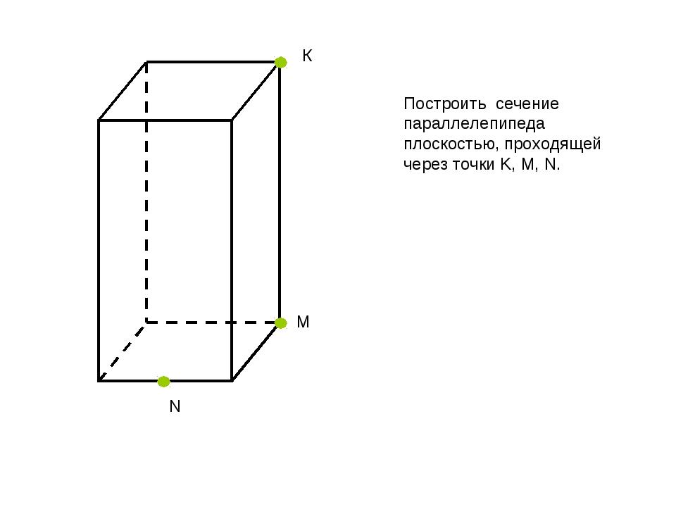 К N М Построить сечение параллелепипеда плоскостью, проходящей через точки K,...