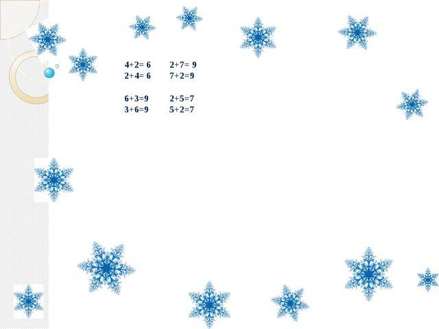 4+2= 6 2+7= 9 2+4= 6 7+2=9 6+3=9 2+5=7 3+6=9 5+2=7