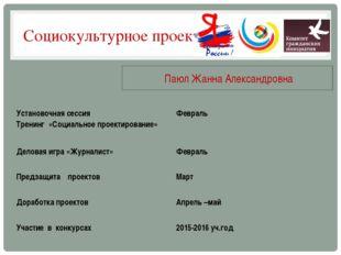 Социокультурное проектирование Паюл Жанна Александровна Установочная сессия