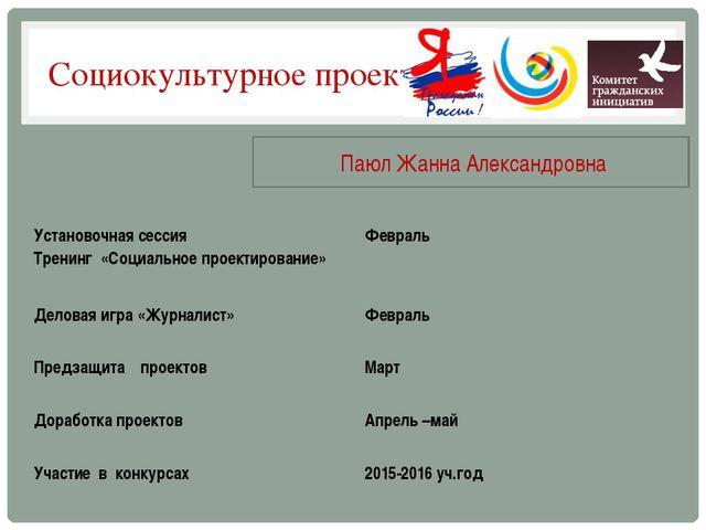 Социокультурное проектирование Паюл Жанна Александровна Установочная сессия...
