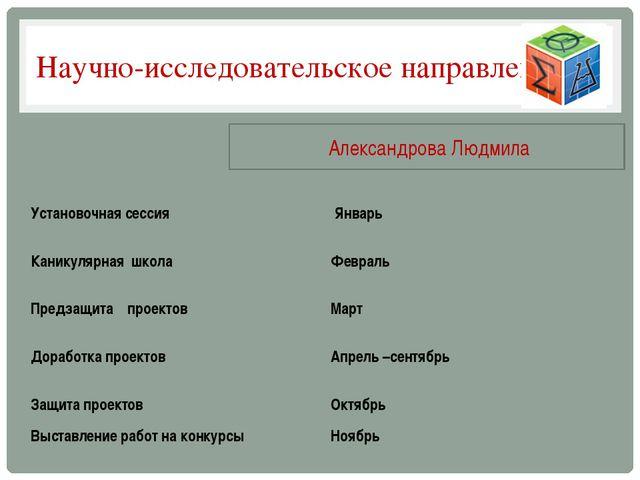 Научно-исследовательское направление Александрова Людмила Установочная сессия...