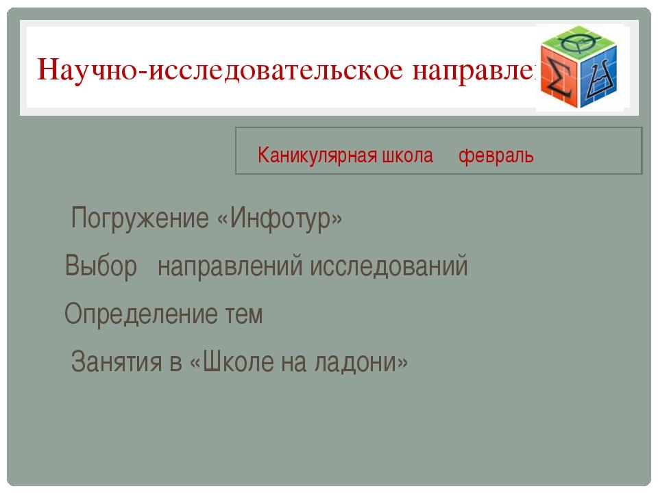 Научно-исследовательское направление Погружение «Инфотур» Выбор направлений и...